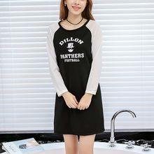 Q.C.T - Letter Raglan Long-Sleeve Dress
