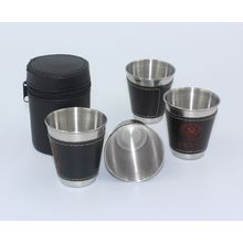 Hadaly - Set of 4 : Stainless Steel Wine Cups with Leather Sleeves