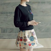 Mida - Set: Owl Pullover + Printed A-Line Dress