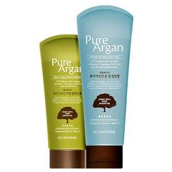 Kwailnara - Set: Eco Ennea Pure Argan Tone Up Peeling Gel 120g + Real Cleansing Foam 80g
