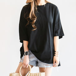 NANING9 - Short-Sleeve Oversized T-Shirt