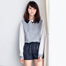 BAIMOMO - Long-Sleeve Paneled Blouse