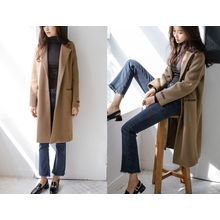 JUSTONE - Notched-Lapel Buttoned Wool Blend Coat
