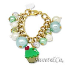 Sweet & Co. - Mini Gold-Green Cupcake Swarovski Crystal Charm Bracelet