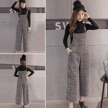 Bloombloom - Cropped Wide Leg Plaid Jumper Pants