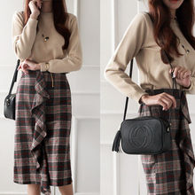 NIPONJJUYA - Ruffle-Front Plaid Long Skirt