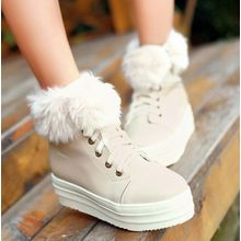 Freesia - Faux Fur Trim Lace Up Platform Shoes