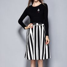 Merald - Set: Knit Top + Pinstriped Skirt