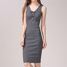 Isadora - Lace Up Ribbed Knit Sleeveless Dress