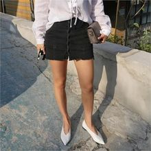 LIPHOP - Inset Shorts Buttoned-Front A-Line Denim Skirt