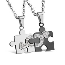 Tenri - Puzzle Couple Matching Stainless Steel Necklace