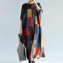 Taragon - Checked Long Sleeve Maxi T-Shirt Dress