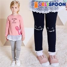 JELISPOON - Girls Lace-Hem Cat Print Leggings