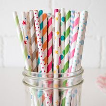 OH.LEELY - Pack of 25: Print Paper Drinking Straw
