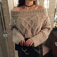 Seoul Fashion - Off-Shoulder Chunky-Knit Sweater