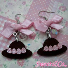 Sweet & Co. - Sweet Pink Ribbon Crystal Strawberry Choco Hat Earrings