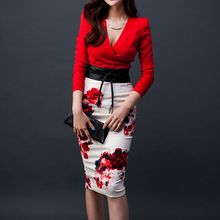 Aurora - Set: Long-Sleeve Plain Top + Printed Pencil-Cut Skirt