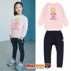 BILLY JEAN - Girls Set: Smile Lettering Sweatshirt + Sweatpants