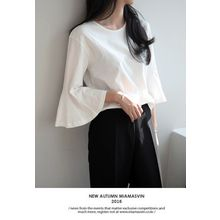 Miamasvin - Bell-Sleeve Cotton Top