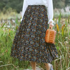 Sens Collection - Floral Print Midi Skirt