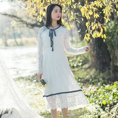 Sens Collection - Tie Neck Long Sleeve Midi Lace Dress