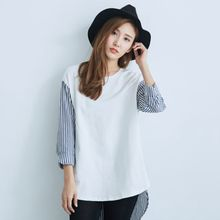 BAIMOMO - 3/4-Sleeve Stripe-Panel Dip-Back Top