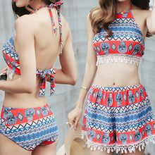 Sweet Splash - Set: Patterned Crochet Trim Tankini + Patterned Shorts