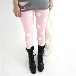 GLAM12 - Star-Printed Distressed Skinny Pants