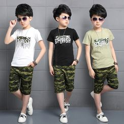PAM - Set: Kids Printed T-Shirt + Camouflage Pants