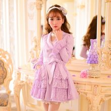 Candy Rain - Lace Trim Double Breasted Coatdress