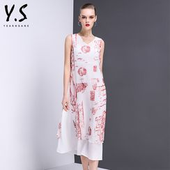 Y:Q - V-Neck Printed Sleeveless A-Line Dress