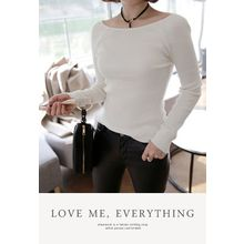 Miamasvin - Scoop-Neck Slim-Fit Knit Top