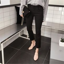 QNIGIRLS - Fray-Hem Straight-Cut Pants