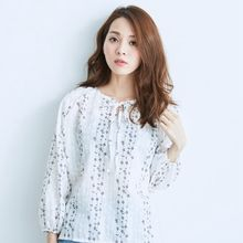 BAIMOMO - Long-Sleeve Tie-Neck Printed Top