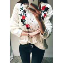 ATTYSTORY - Flower Embroidered Pointelle-Knit Thick Sweater