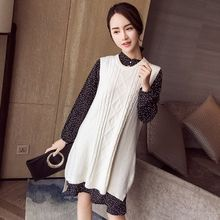 Maiden's Tale - Maternity Set: Dotted Long-Sleeve Chiffon Dress + Knit Vest