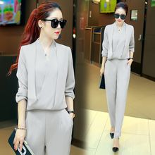 wisperia - Set: V-Neck Long-Sleeve Blouse + Pants