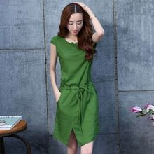 Romantica - Short-Sleeve Slit-Front Drawstring Dress