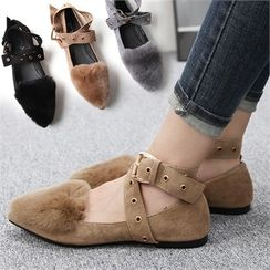Reneve - Ankle-Strap Faux-Fur Panel Flats
