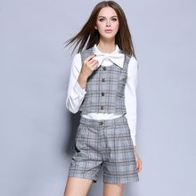 Cherry Dress - Set: Tie Neck Shirt + Plaid Vest + Wide Leg Shorts