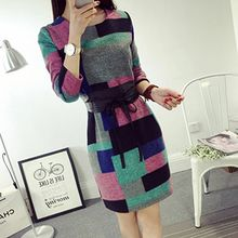lilygirl - Long-Sleeve Woolen Plaid Dress