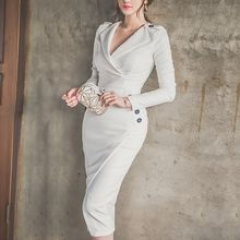 Aurora - Long-Sleeve Buttoned Wrap Dress