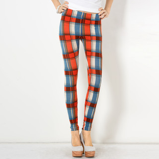 59 Seconds - Elastic-Waist Plaid Leggings