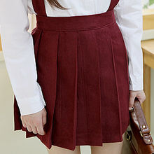 Sechuna - Faux-Suede Pleated Suspender Skirt