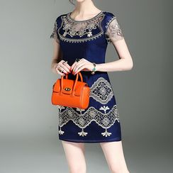 Alaroo - Embroidered Short Sleeve Shift Dress
