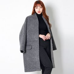 FASHION DIVA - Collarless Wool Blend Coat