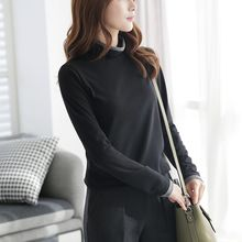 CLICK - Turtle-Neck Contrast-Trim T-Shirt