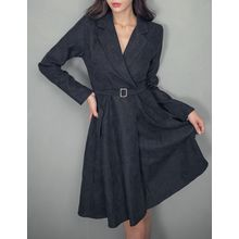 GUMZZI - Notch-Lapel Belted Dress