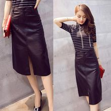 EFO - Faux-Leather Slit-Front Skirt