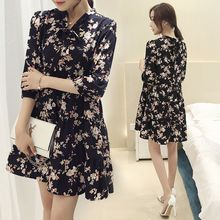 Romantica - 3/4-Sleeve Floral Chiffon Dress